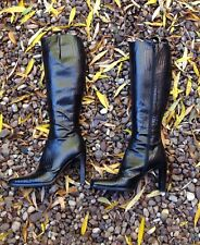 Ladies Boots, Size UK5/6 RUSSELL & BROMLEY~ Black Leather Croc. WORN ONCE~