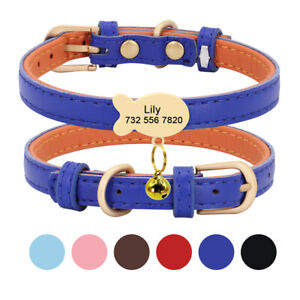 Personalized Soft Leather Pet Collar with Fish Name Tag for Small Dog Cat XS S M
