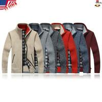 ✅USA Men Sweaters Cardigan Winter Warm Thicken Zipper Solid Knitwear Coat Gift