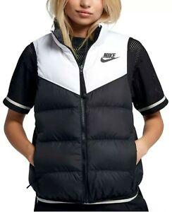 Nike NSW Women's Black/White Reversible Windrunner Down Vest (939442-100) Size L