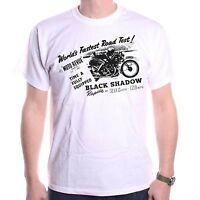 Vincent Black Shadow Ad Classic Motorcycle T shirt Vintage Bike Bobber Custom