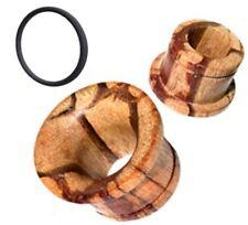 PAIR CONCAVE 00G (10MM) ZEBRA WOOD SINGLE FLARE TUNNELS PLUGS PLUG