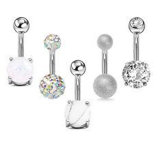 1Set Navel Belly Button Ring Barbell Rhinestone Crystal Ball Piercing JewelryJCA