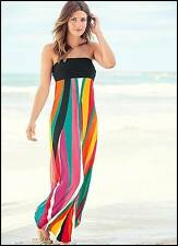 WOMENS ladies stunning vibrant multi colored long summer MAXI DRESS SIZE 18-20