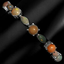89.35 CT.RARE! NATURAL HOT RAINBOW LUSTER 8,10x5mm FIRE OPAL SILVER BRACELET