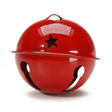 SET OF 4 2-3/4 Inch 70mm Red Jumbo Large Jingle Bell with Star Cutouts