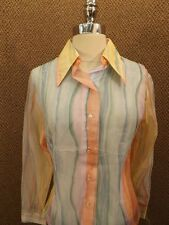 Vtg 1970s NEW NOS Nylon Sheer RAINBOW WATERCOLOR FADE Casual Shirt Sz M Hipster