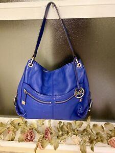 Michael Kors Leather Royal Blue Zipper Satchel Purse Handbag Hobo Bag