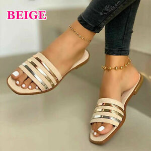 Summer Ladies Open Toe Flat Slip On Sandals Beach Toe Square Shoes Slippers US