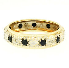 9ct Yellow & White Gold Sapphire & Diamond Full Eternity Ring (Size N) 5mm Width