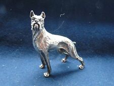 MINIATURE BOXER DOG, STERLING SILVER ITALY, 1960, MARKED, CAST & ENGRAVED