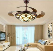 """42"""" Us Tiffany Invisible Ceiling Fan Led Light Lamp Lighting Chandeliers +Remote"""