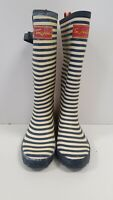 J361 WOMENS JOULES YELLOW BLUE STRIPED RUBBER BOOTS WELLIES UK 4 EU 37