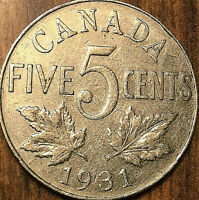 1931 CANADA 5 CENTS COIN - Nicer example!
