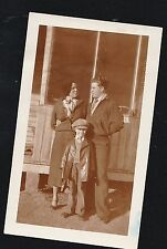 Vintage Antique Photograph Mom & Dad With Little Boy Wearing Cool Outfit & Hat
