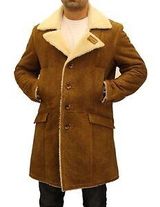 Mens Brown/Tan Shearling Sheepskin Wool Casual Classic Winter Long Trench Coat