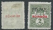 1918-19 FIUME GIORNALI 2 F SOPRASTAMPA A MANO II TIPO MH * - F7