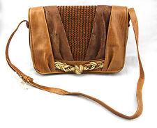 $325 Sharif Vintage Tan Brown Lizard Reptile Embossed Leather Woven Braid Bag