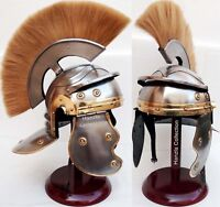 Medieval Armour Helmet Roman Centurion Helmet with Yellow Plume & Wooden Stand