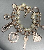 Guess Gold Tone Chunky Chain Pearl 2 Strand Bracelet Charms Heart Key Nice !
