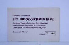 Let The Good Times Roll 1973 Official Ticket European Premiere Little Richard
