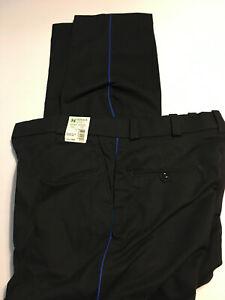 HORACE SMALL Mens Navy Blue Pinstripe work uniform pants TA22883 piping 37 x 34