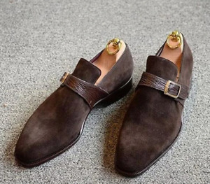 Mens Handmade Shoes Brown Suede Monk Buckle Slip On Formal Dress Casual Boot New