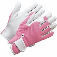 Ladies Gardening Gloves Women Hand Protection Grip Work Household Leather Pink M