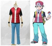 NEW! Pokemon Trainer Red uniform Cosplay Costume custom made