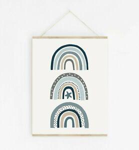 Blue Scandi Rainbow Nursery Art Modern Boys Room Decor Play Room Print 637-A