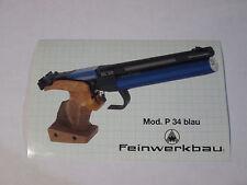 Feinwerkbau P34 Blau / Blue Air pistol sticker