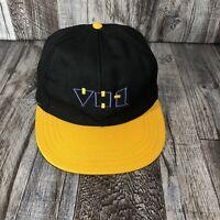 RARE Vintage 80s 90s VH1 Music Television Station Snapback Hat Cap Black Yellow