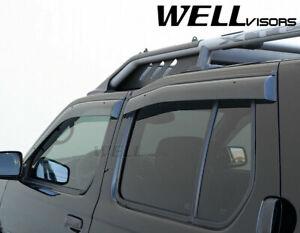 WellVisors For 99-04 Nissan Xterra Side Window Visors Rain Guards BLACK TRIM