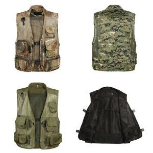 Men Mesh Waistcoat BodyWamer Sleeveless Hiking Hunting Jacket Oversize Camo Vest