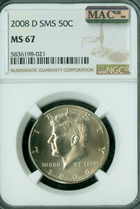 2008-D KENNEDY HALF DOLLAR NGC MS67 SMS PQ MAC SPOTLESS LOW MINTAGE *