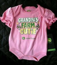 "John Deere  baby pink one piece onesy ""Grandpa's Farm Cutie"" 6M JSB114PN"