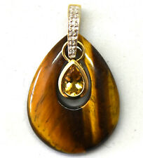 10K Solid Yellow Gold, Diamonds, Tiger Eye & Citrine Pendant
