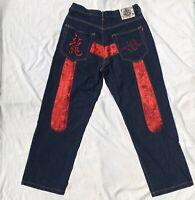 Vintage Dogtown Black Dragon Skate Hip Hop Mens Baggy Denim Jeans W 34 L 31