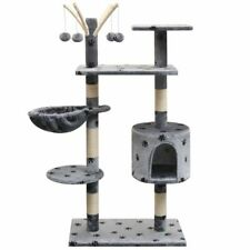 vidaXL Cat Tree with Sisal Scratching Posts 125 cm Paw Prints Grey Play Tower