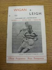 18/09/1963 Rugby League Programme: Wigan v Leigh [Lancashire Cup] (Creased, Slig
