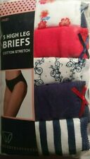 Assorted Colours UK size 14 Eur 42  Five Pack Ladies Anucci High Leg Briefs