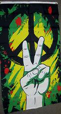 PEACE FLAG 3X5 HAND SIGN SYMBOL GRAFFITI PAINT ART TWO FINGERS F667