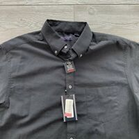 ROUNDTREE & YORKE SHORT SLEEVES SHIRT Button Up Size Large Black Summer Cotton