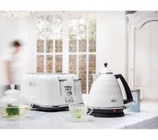 White DeLonghi Brillante Faceted Kettle + 4 Slice Toaster Set Kitchen Bundle NEW