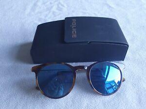 Police brown tortoiseshell mirror sunglasses. Avenue 1. With case.