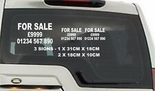 3x FOR SALE NUMBER PRICE Large Car/Van/Rear Window Vinyl Sign Decal Sticker