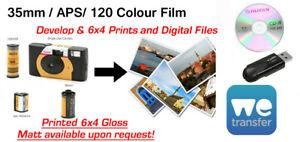 """COLOUR FILM Develop & 6""""x 4"""" Prints PLUS WeTransfer/CD/USB - 35mm / 120 / APS"""