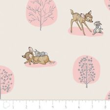 Disney Fabric - Nursery Baby Bambi Forest Scene Pink - Camelot YARD