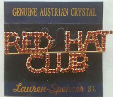 Red Hat Club Lauren Spencer Brooch Pin Genuine Australian Crystal NEW