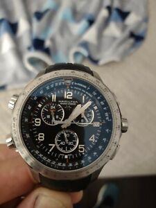 HAMILTON Khaki X-Wind 46MM CHRONO Blue Dial Rubber Strap Watch H77922341